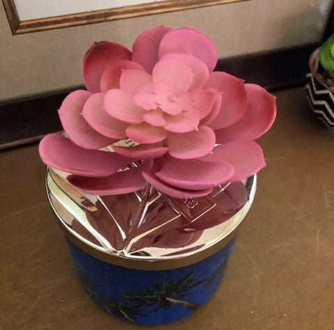 Pink Cactus Blossom Candle Lid Magnet
