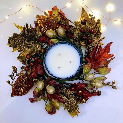 Autumn Harvest 3-Wick Candle Ring Decor