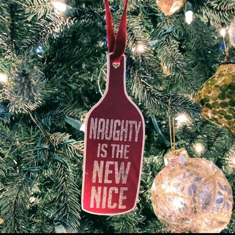 Naughty Wine Bottle Ornament