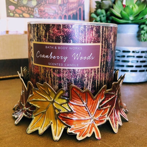 Enameled Leaves Crown Candle Ring