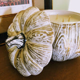 Golden Wood-Grain White Ceramic Pumpkin Candle