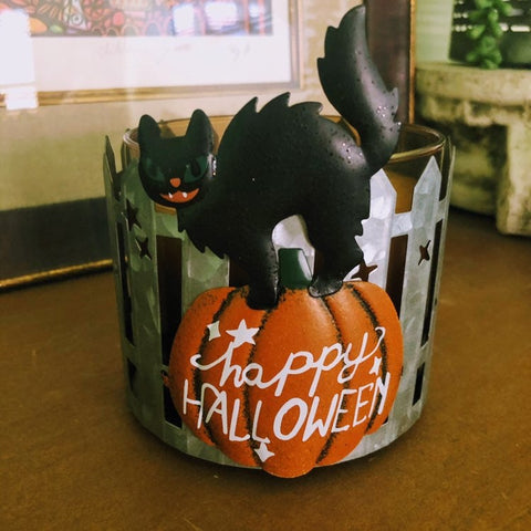 Scaredy Cat Halloween Candle Holder
