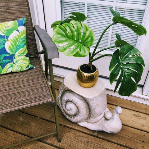 Faux Stone Snail Garden Stool Stand