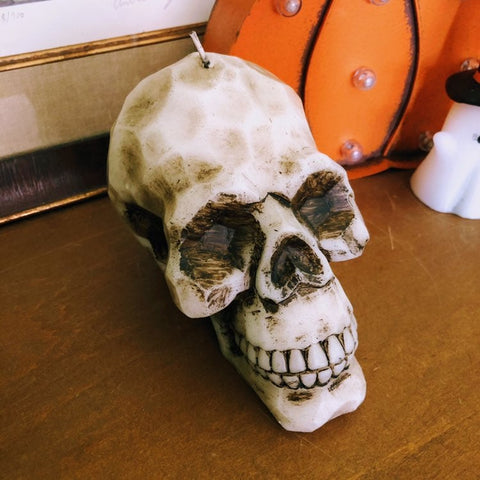 Sculpted Wax Skull Halloween Candle