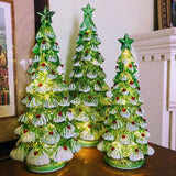 Woodland Fir Lighted Mercury Glass Christmas Trees Set