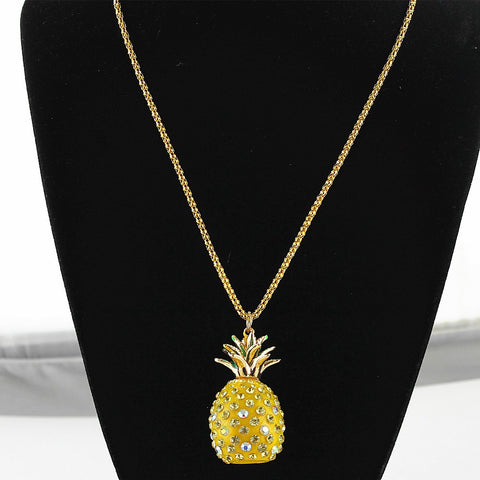 Jeweled Golden Pineapple Pendant Necklace