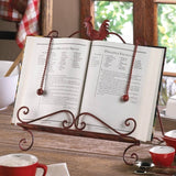 Red-Iron Rooster Cookbook & Tablet Stand - Holt Bros. Mercantile  - 1
