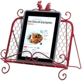 Red-Iron Rooster Cookbook & Tablet Stand - Holt Bros. Mercantile  - 2