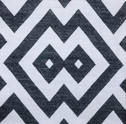 Chinese Geometric Charcoal / Grey Blue