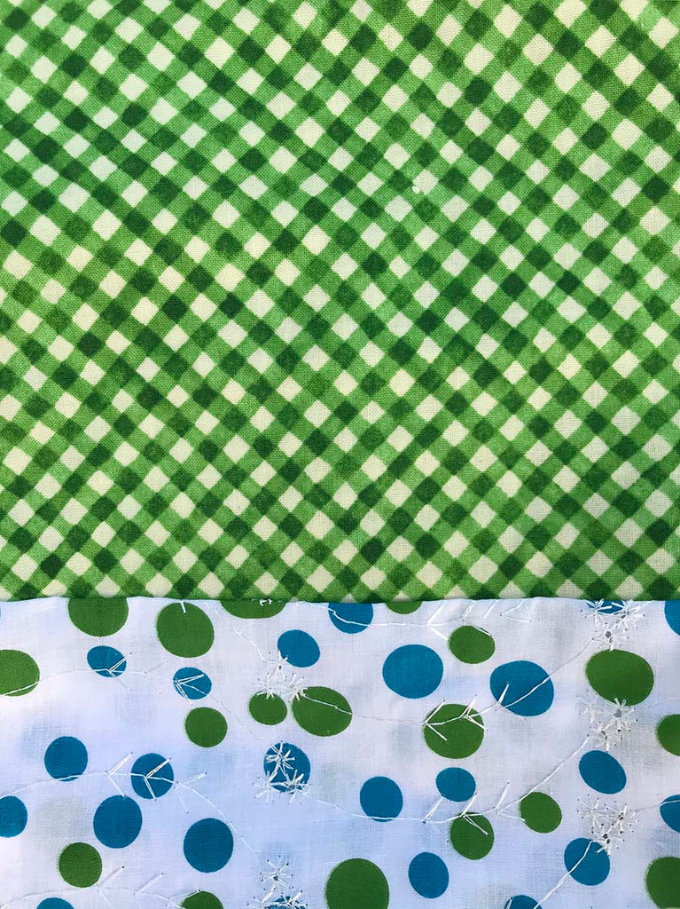 Cotton Capri - Green Gingham w/ Polka Dots