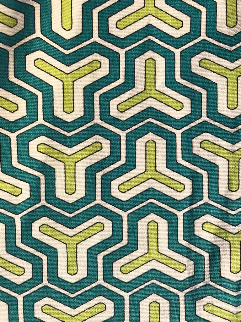 Cotton Capri - Green Teal Geometric