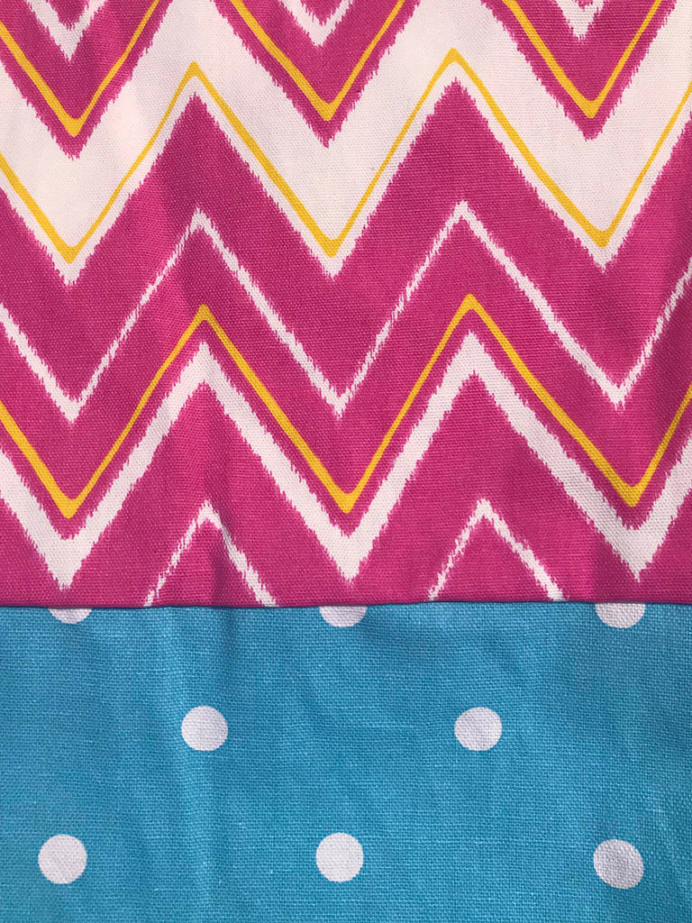 Heavy Cotton Capri - Bright Pink Chevron w/ Blue Dot