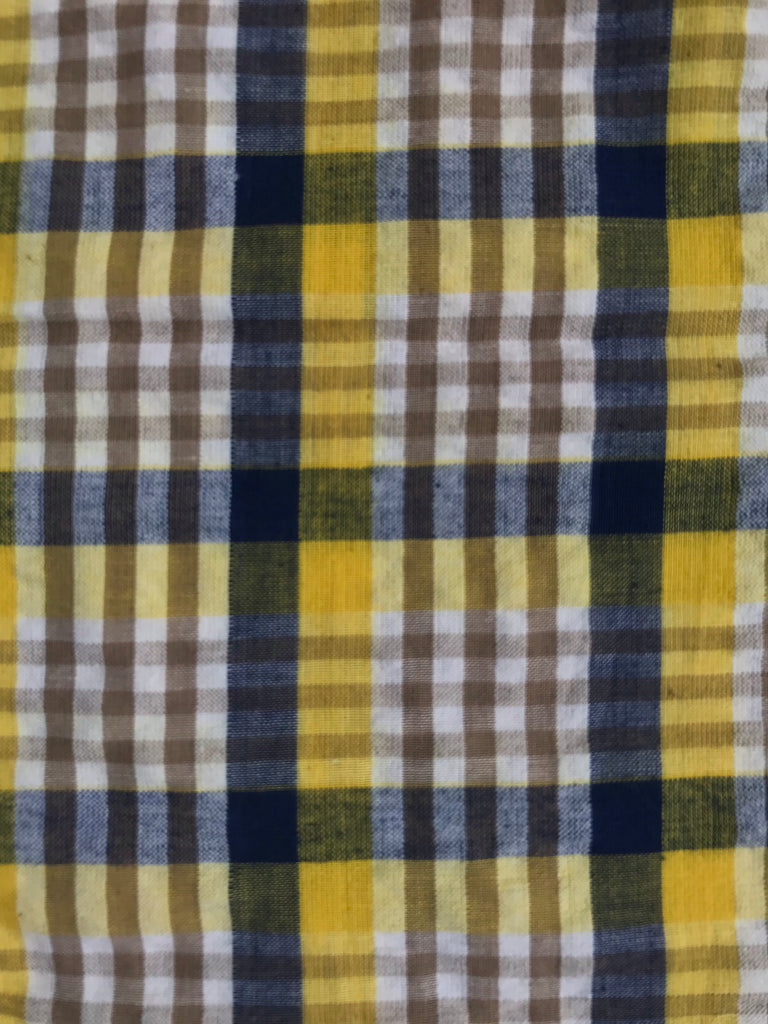 Unisex Cotton Seersucker SHORTS -  Yellow & Navy Plaid