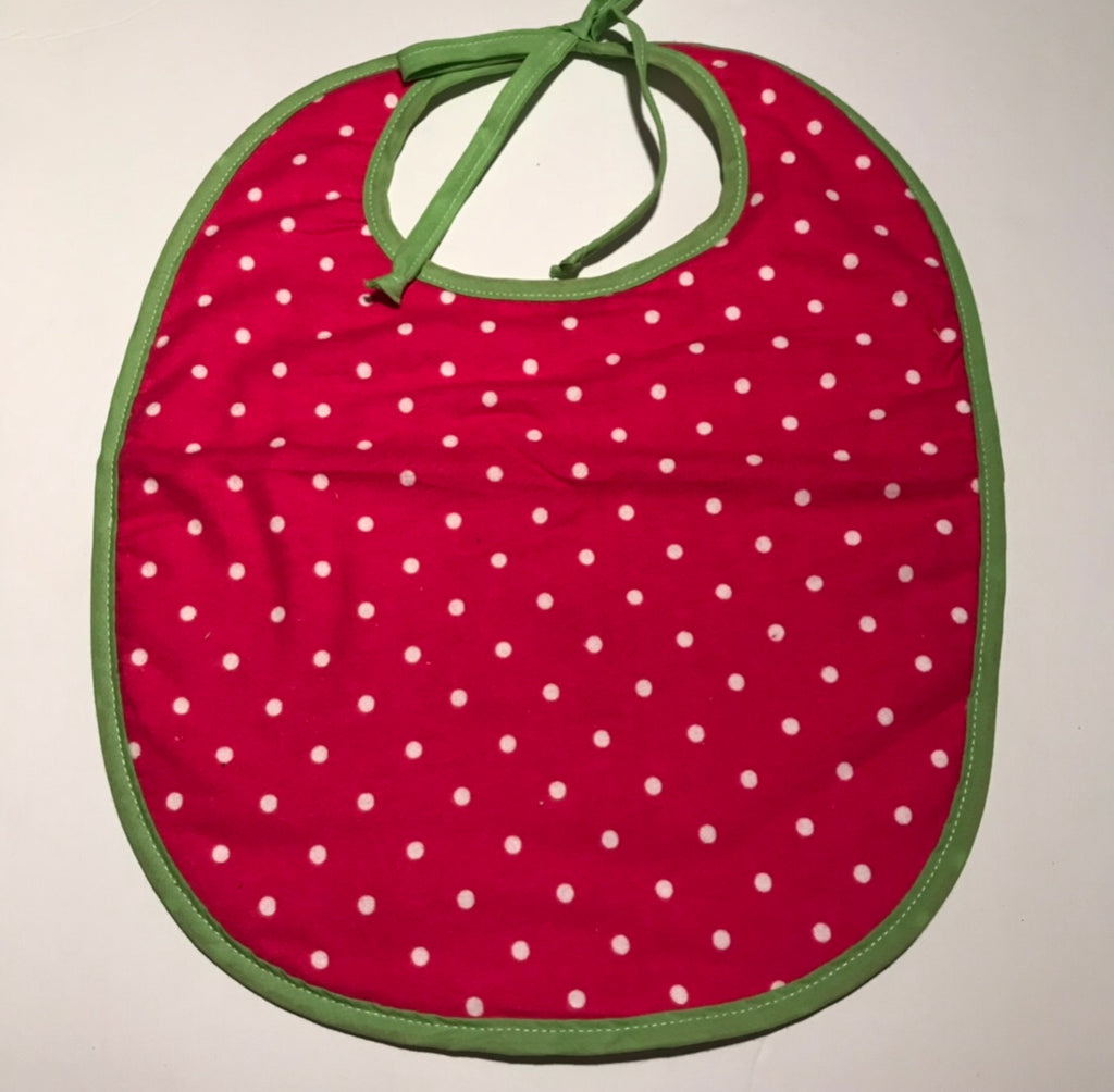 Large Bib - Pink & White dot