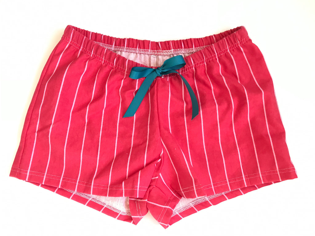 Women's Boxers - Flannel Red & White stripe