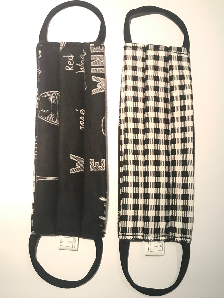 Masks - Black Wine Flannel & Gingham Cotton