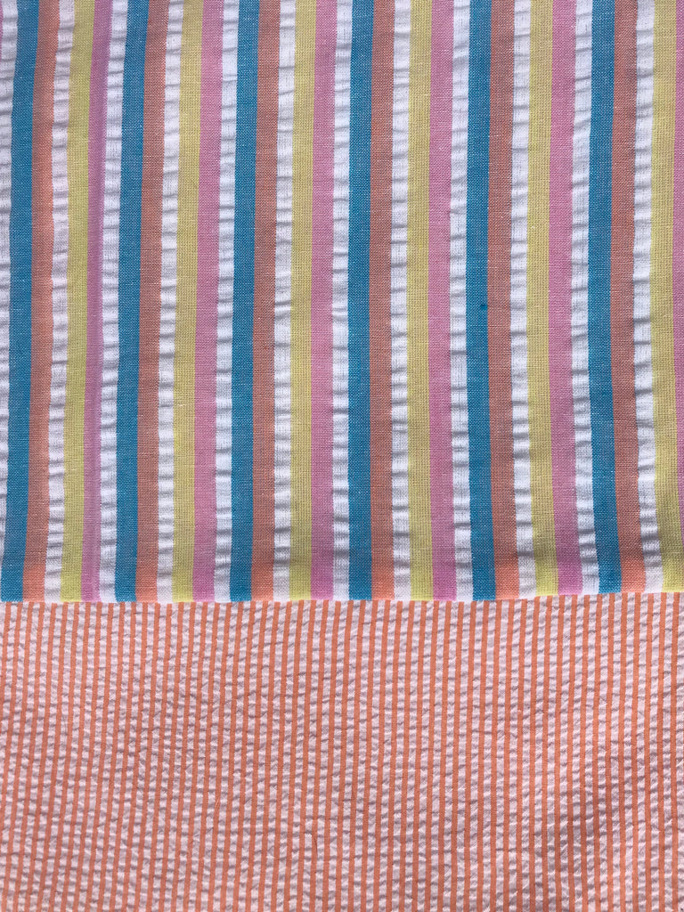 Cotton seersucker Capri - Sherbet Stripe w/ Peach Gingham