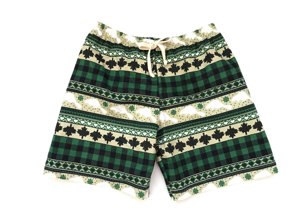 Flannel Shorts - Green Beaver Stripe