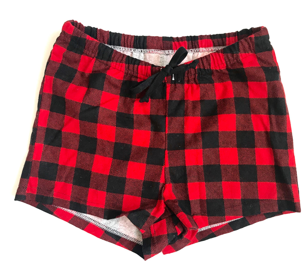 Flannel Women's Boxers -  Red & Black Buffalo Check