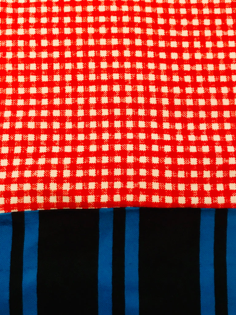 Flannel Pants - Red Gingham w/ Blue stripe