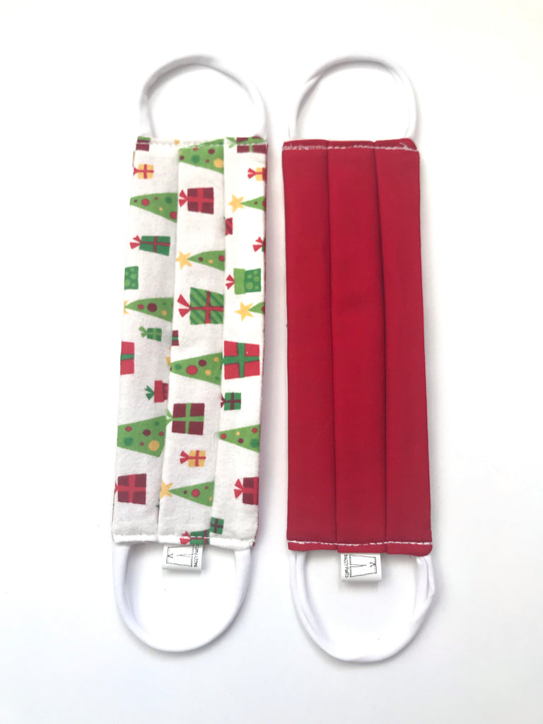 Masks - White Xmas Trees Flannel & Red Cotton