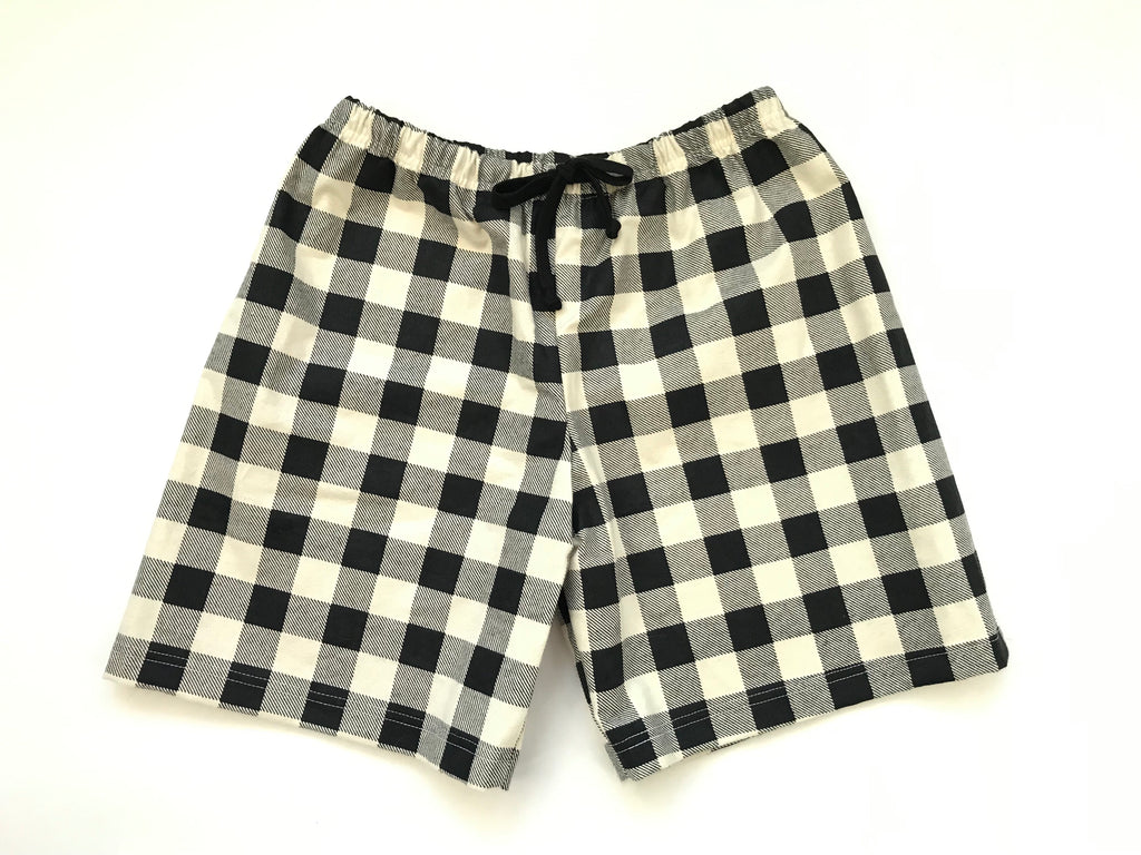 Unisex Flannel Shorts - Black & Cream Buffalo Check