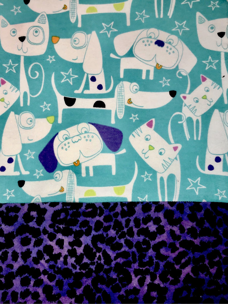 Flannel Pants - Turquoise Cats & Dogs w/ Purple Leopard