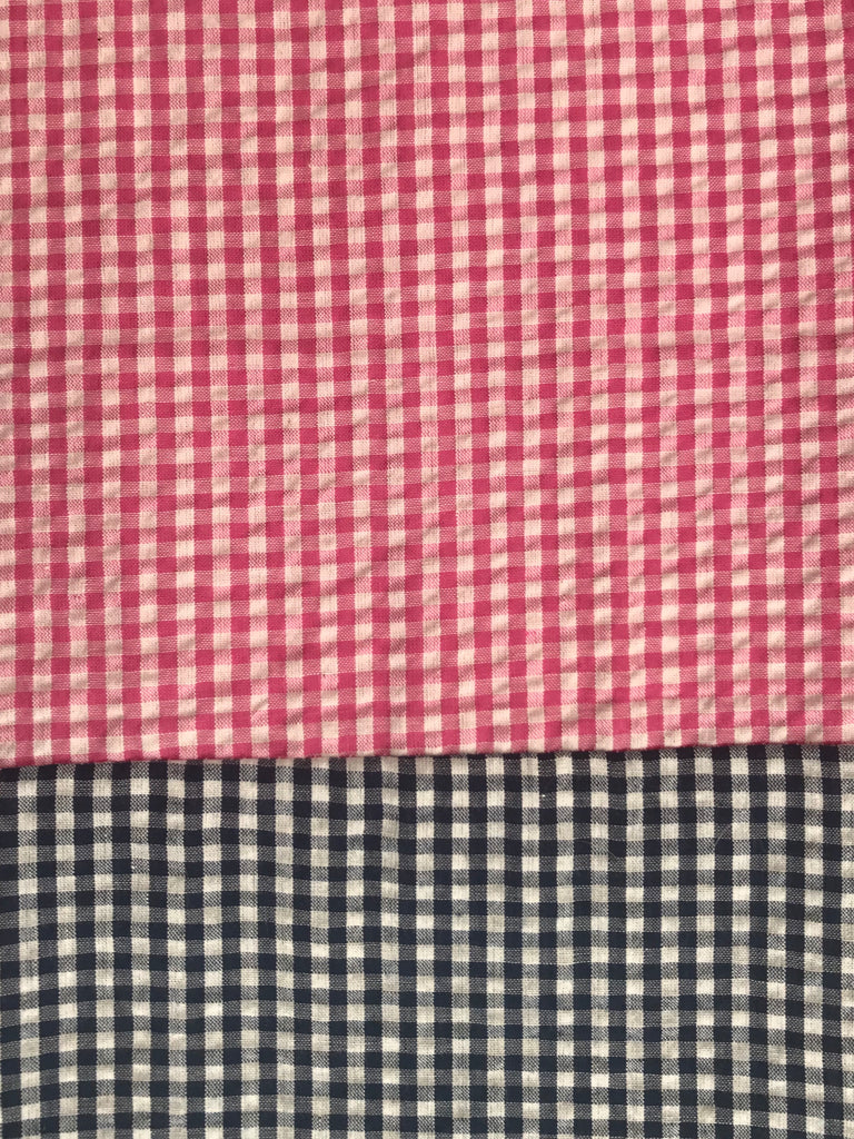 Cotton Seersucker pants - Pink w/ Navy Gingham