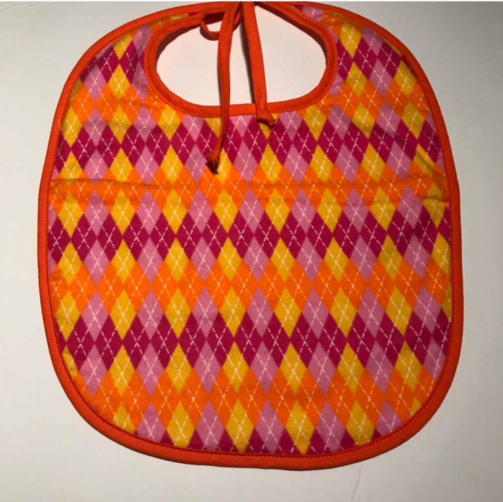Large Bib - Orange & Pink Argyle
