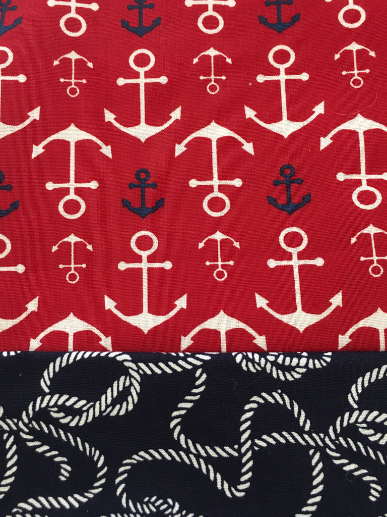 Cotton Capri - Red Anchor w/ Rope