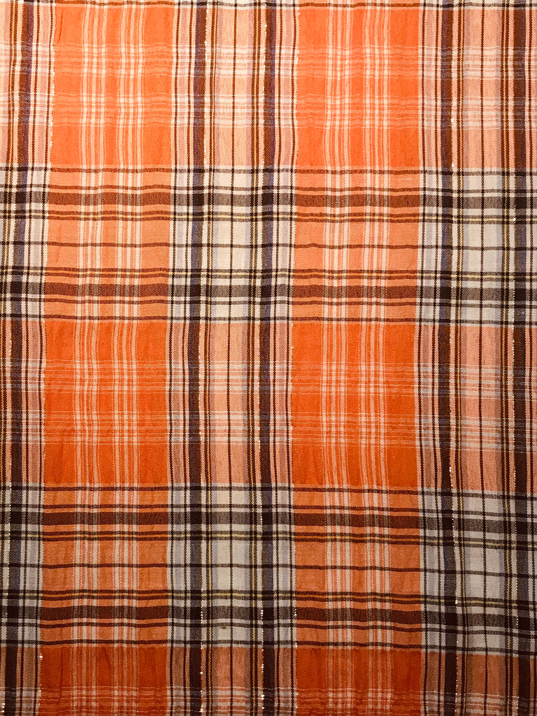 Cotton Seersucker Capri - Orange Plaid