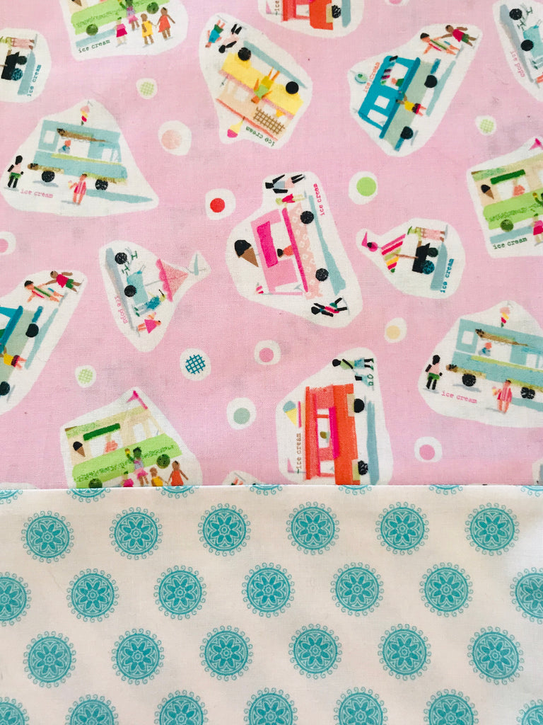 Cotton CAPRI Pink Ice-cream Truck w/ Turquoise