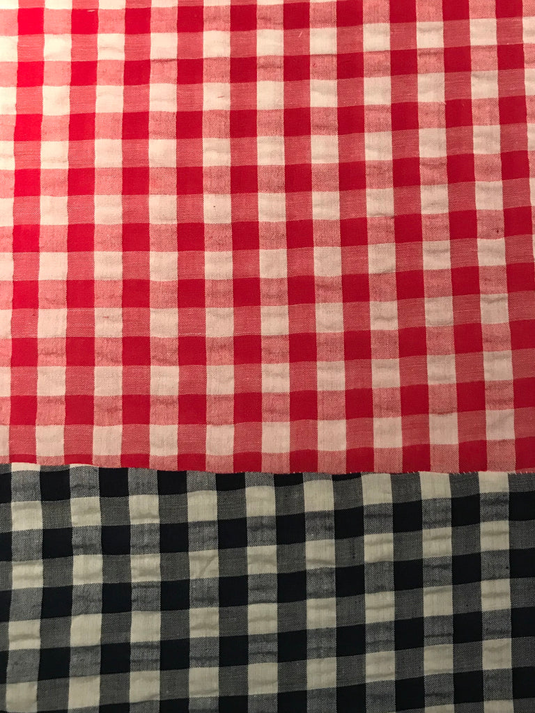 Cotton CAPRI Seersucker - Red w/ Navy Check