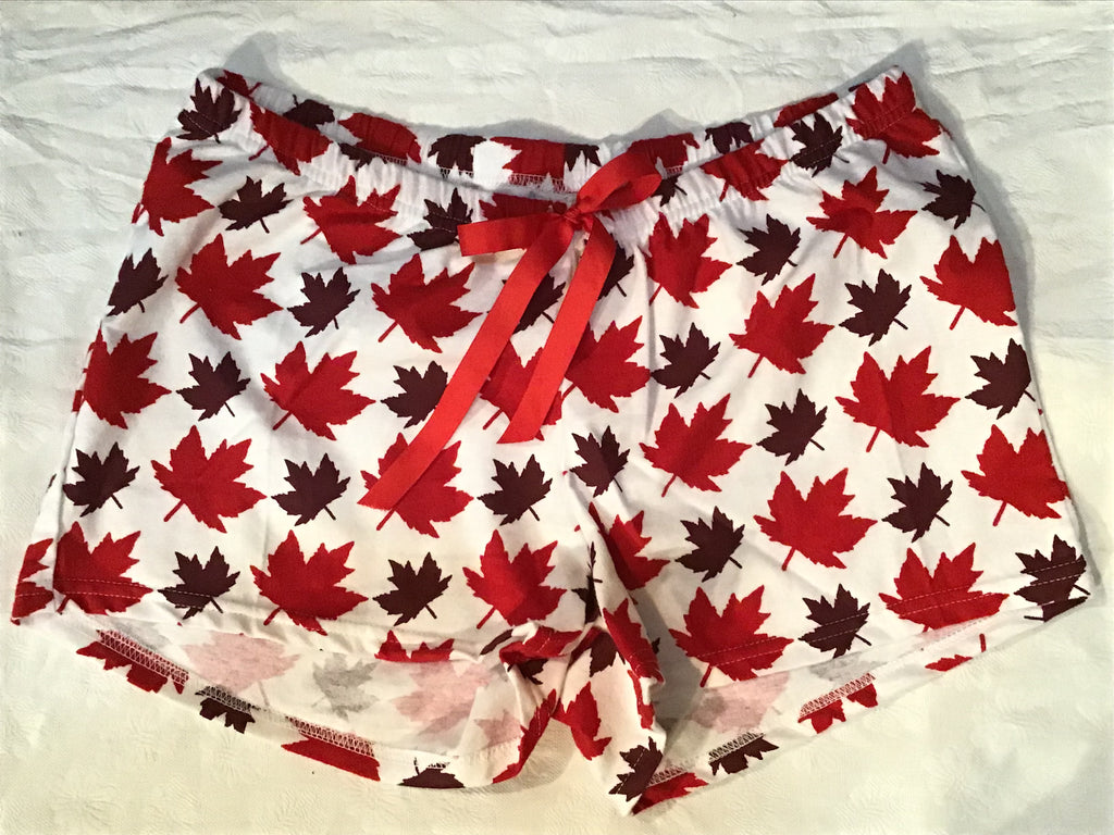 Women's Boxers Flannel- Maple Leaf