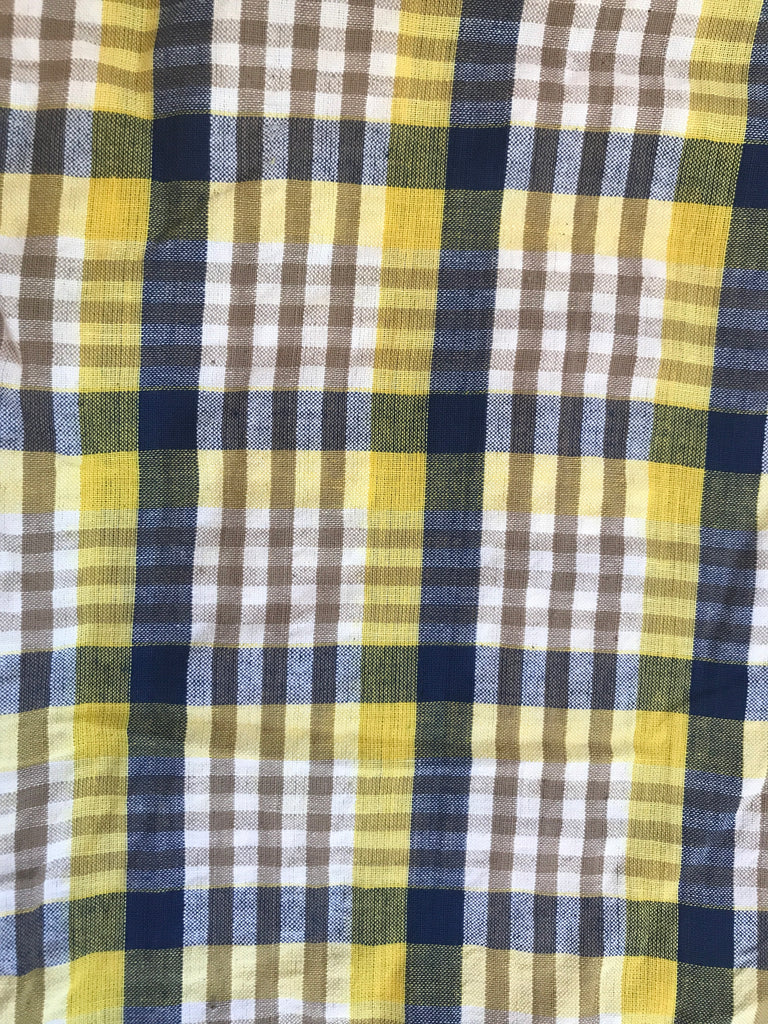 Cotton Seersucker PANTS  -Yellow & Navy Plaid