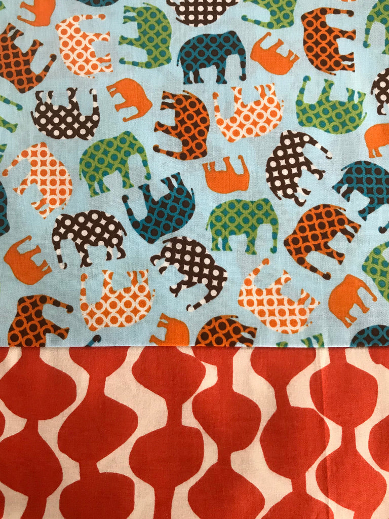 Cotton Capri - Elephants w/ Orange