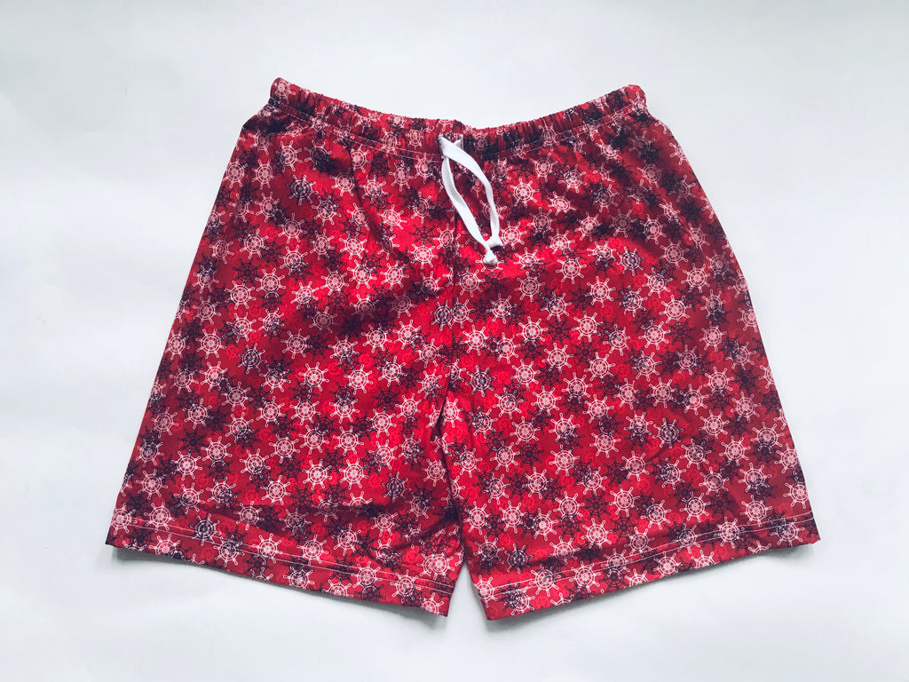 Cotton Shorts - Red Nautical Wheel