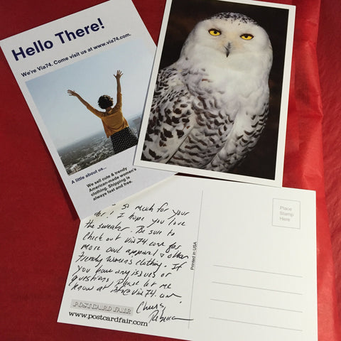 Handwritten Made in USA Owl Thank You Note