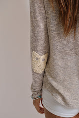 American Made Owl Sweater with Owl Elbow Patches