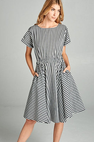 American Made Women's Black Gingham Fit & Flare Dress