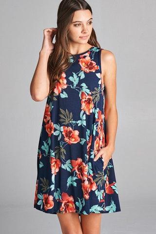 Made in the USA Women's Hibiscus Print Swing Dress