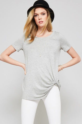 Made in USA Women's Gray Knotted Tee