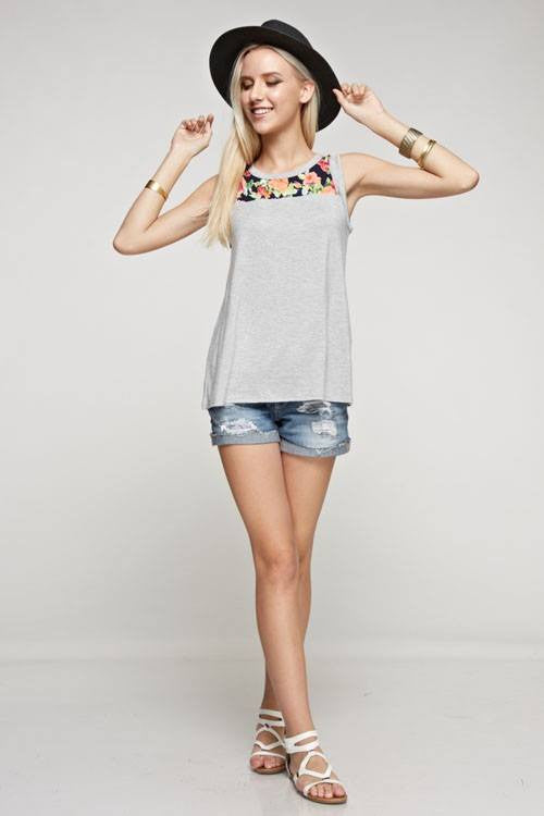 American Made Women's Floral Mixed Media Tank Top in Grey Front