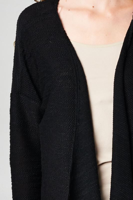 Black made in USA women's sweater knit wrap cardigan closeup