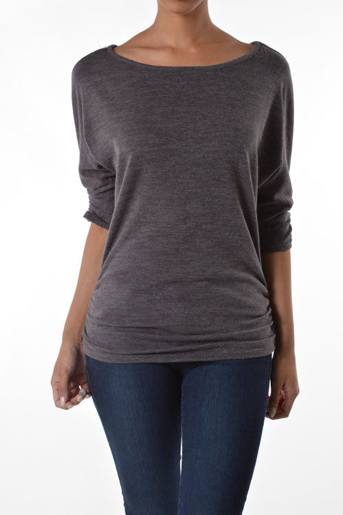 American Made Women's Ruched Sweater in Taupe Front