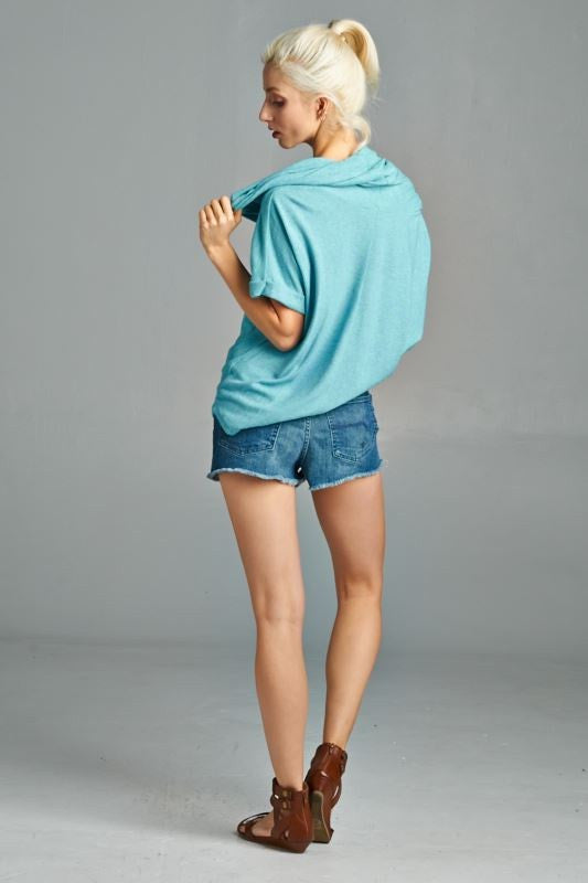American Made Women's Green Short Sleeve Cowl Neck Top Back View
