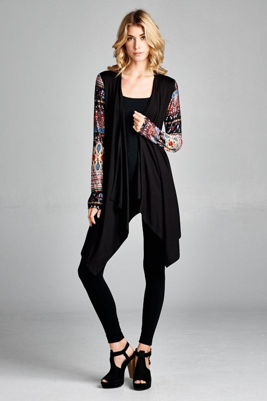 American Made Women's Black Boho Printed Sleeves Cardigan Front View