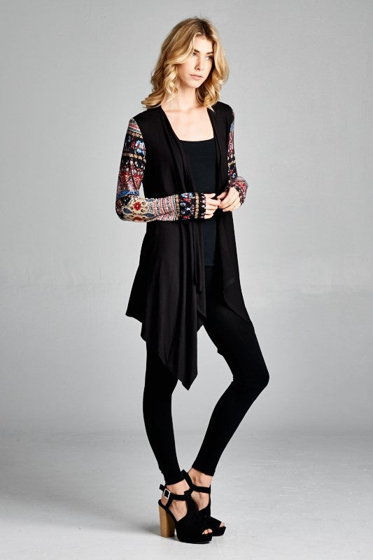 American Made Women's Black Boho Printed Sleeves Cardigan Side View
