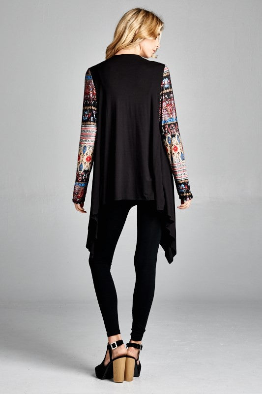 American Made Women's Black Boho Printed Sleeves Cardigan Back View