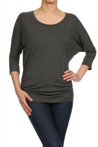 American Made Women's Ruched Side Top in Grey Front